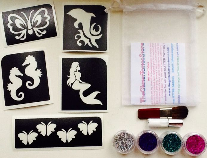 DOLHIN/MERMAID/BUTTERFLY GLITTER TATTOO KIT